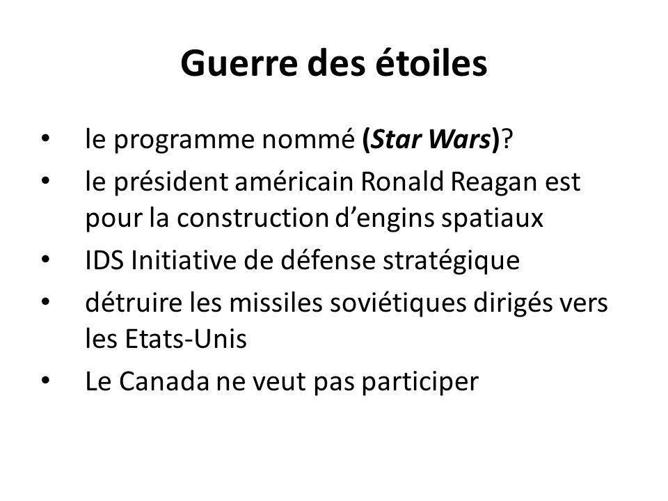 Guerre des étoiles le programme nommé (Star Wars)? le président américain Ronald Reagan est pour la construction dengins spatiaux IDS Initiative de dé
