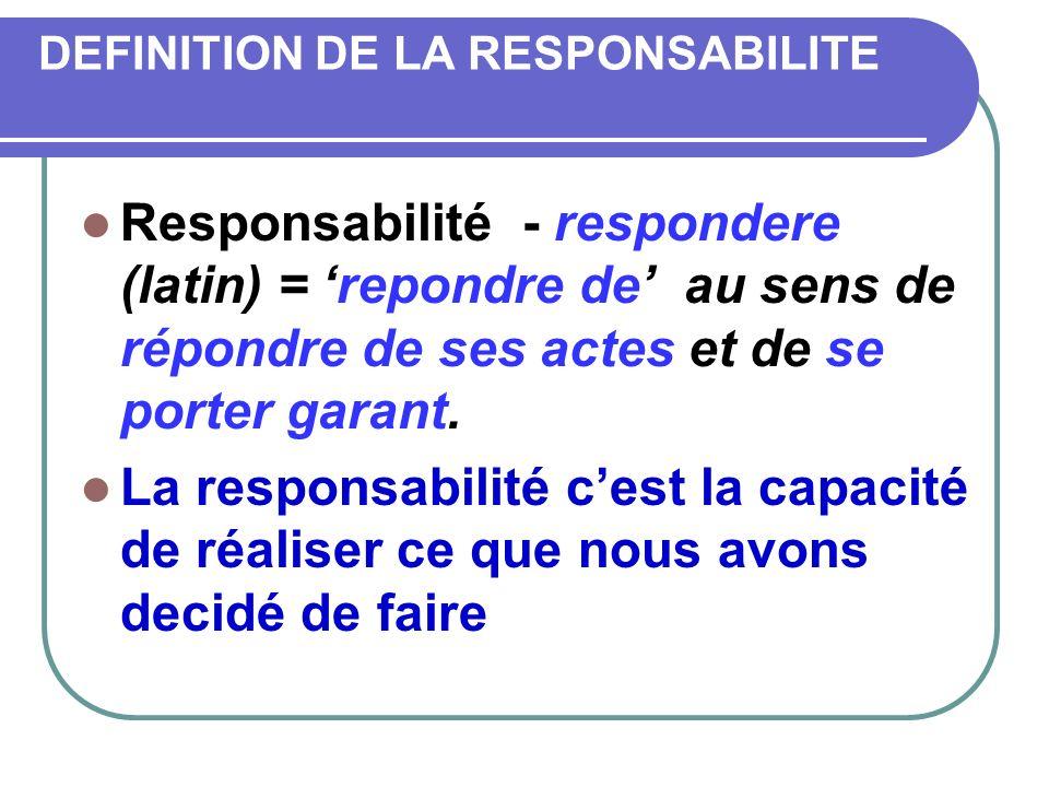 DEFINITION DE LA RESPONSABILITE Responsabilité - respondere (latin) = repondre de au sens de répondre de ses actes et de se porter garant. La responsa