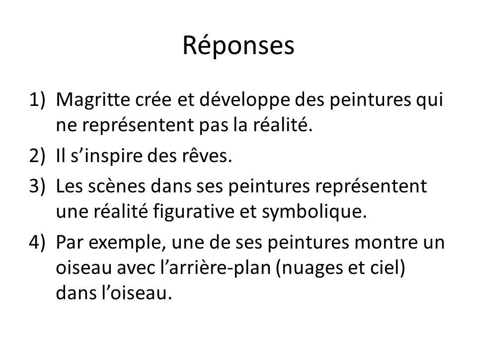 Réponses 1)Magritte crée et développe des peintures qui ne représentent pas la réalité.