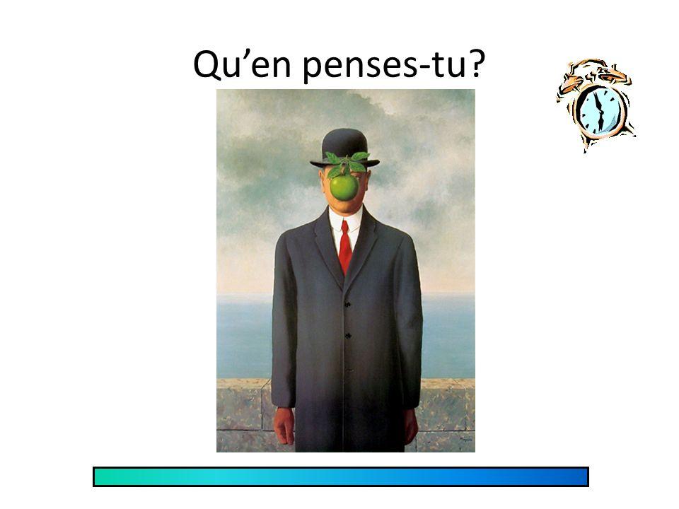 Réponses 1)Magritte crée et développe des peintures qui ne représentent pas la réalité. 2)Il sinspire des rêves. 3)Les scènes dans ses peintures repré