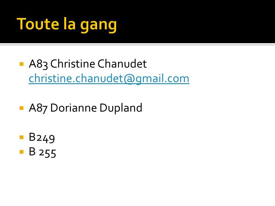 A83 Christine Chanudet christine.chanudet@gmail.com christine.chanudet@gmail.com A87 Dorianne Dupland B249 B 255