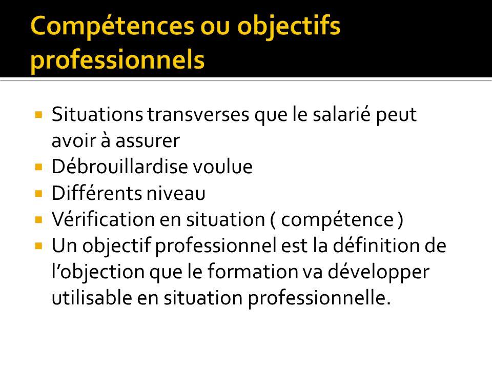 Situations transverses que le salarié peut avoir à assurer Débrouillardise voulue Différents niveau Vérification en situation ( compétence ) Un object