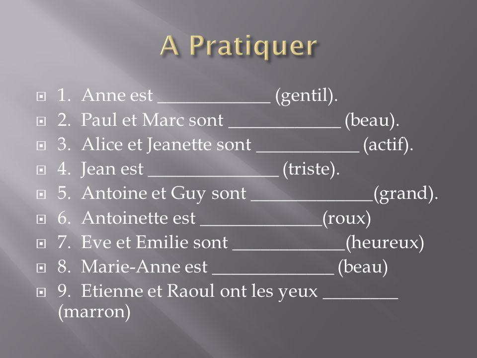 1. Anne est ____________ (gentil). 2. Paul et Marc sont ____________ (beau).