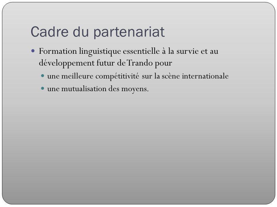 Cadre du partenariat Formation linguistique essentielle à la survie et au développement futur de Trando pour une meilleure compétitivité sur la scène internationale une mutualisation des moyens.