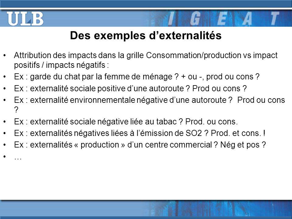Des exemples dexternalités Attribution des impacts dans la grille Consommation/production vs impact positifs / impacts négatifs : Ex : garde du chat p