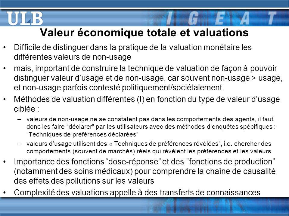 Valeur économique totale et valuations Difficile de distinguer dans la pratique de la valuation monétaire les différentes valeurs de non-usage mais, i