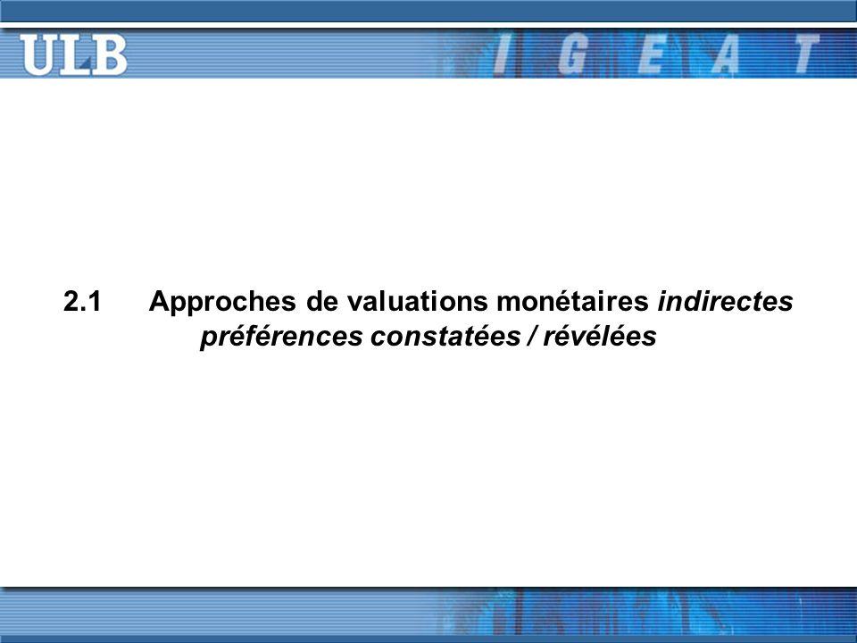 2.1Approches de valuations monétaires indirectes préférences constatées / révélées
