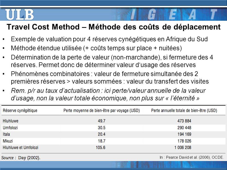 Travel Cost Method – Méthode des coûts de déplacement Exemple de valuation pour 4 réserves cynégétiques en Afrique du Sud Méthode étendue utilisée (+