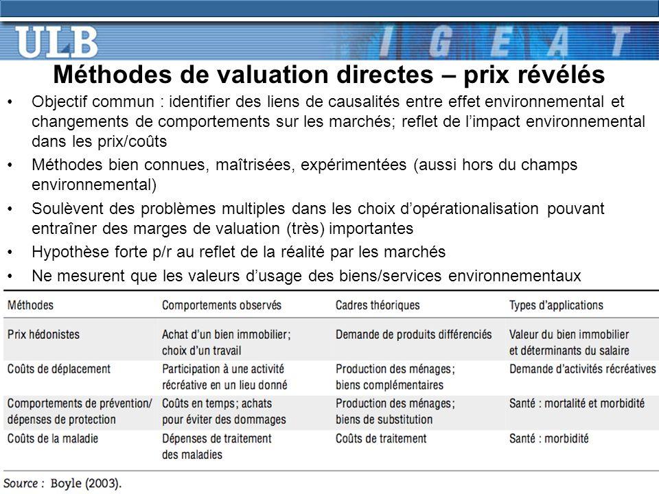 Méthodes de valuation directes – prix révélés Objectif commun : identifier des liens de causalités entre effet environnemental et changements de compo