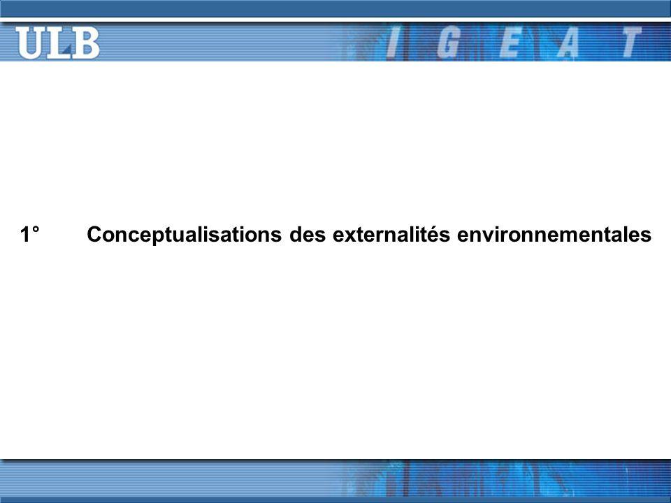 1°Conceptualisations des externalités environnementales