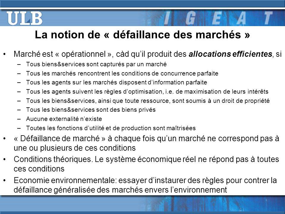La notion de « défaillance des marchés » Marché est « opérationnel », càd quil produit des allocations efficientes, si –Tous biens&services sont captu