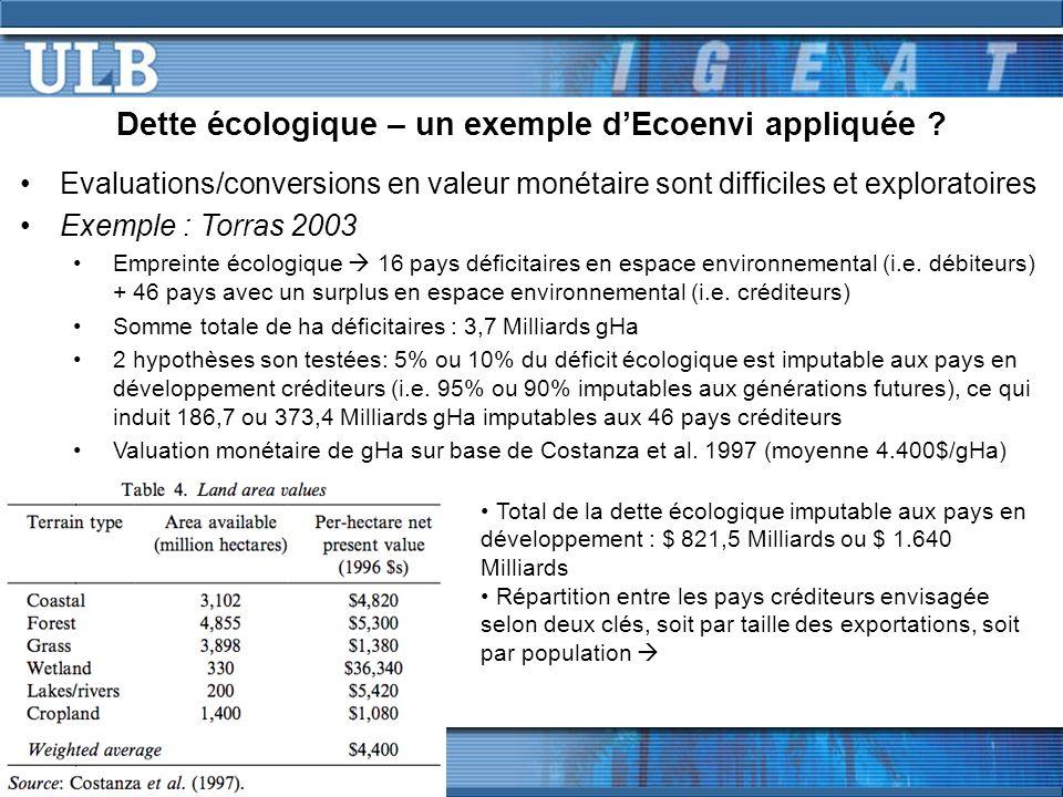 Dette écologique – un exemple dEcoenvi appliquée .