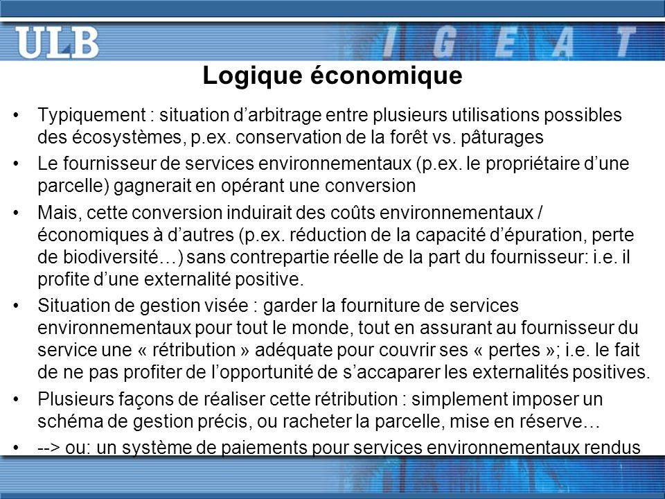 Logique économique Typiquement : situation darbitrage entre plusieurs utilisations possibles des écosystèmes, p.ex.