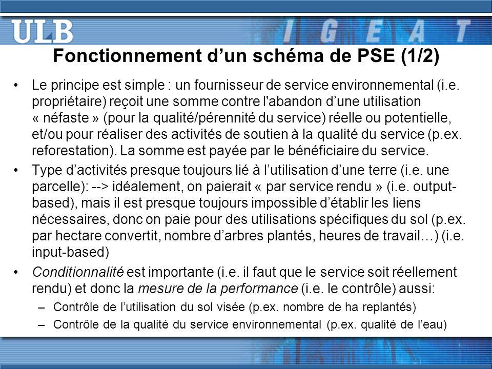 Fonctionnement dun schéma de PSE (1/2) Le principe est simple : un fournisseur de service environnemental (i.e.