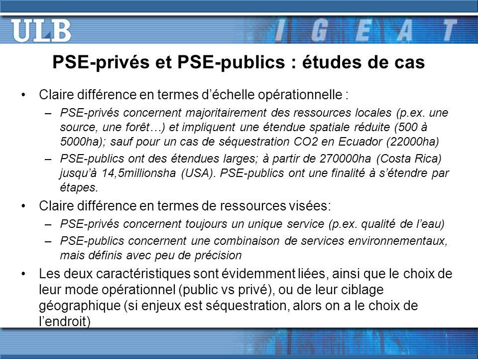 PSE-privés et PSE-publics : études de cas Claire différence en termes déchelle opérationnelle : –PSE-privés concernent majoritairement des ressources locales (p.ex.