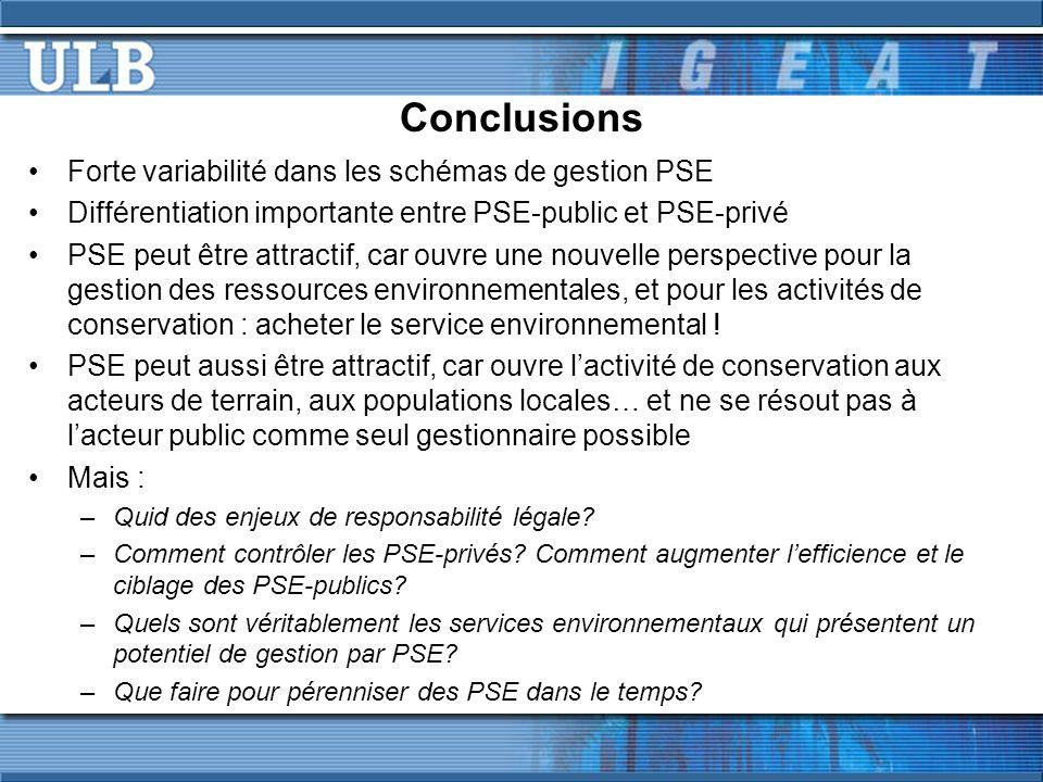 Conclusions Forte variabilité dans les schémas de gestion PSE Différentiation importante entre PSE-public et PSE-privé PSE peut être attractif, car ouvre une nouvelle perspective pour la gestion des ressources environnementales, et pour les activités de conservation : acheter le service environnemental .