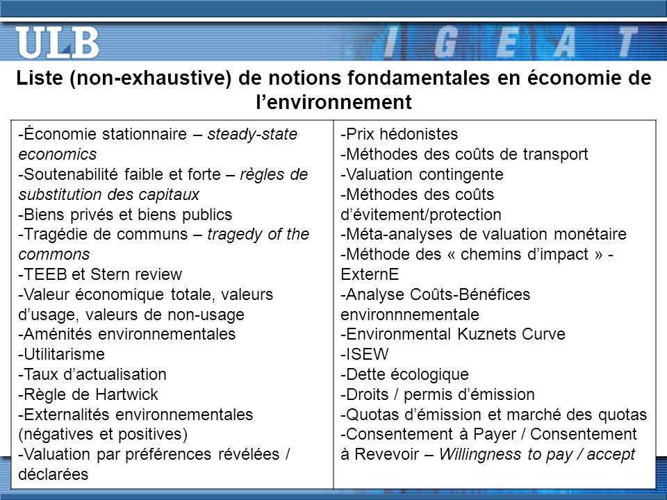 Liste (non-exhaustive) de notions fondamentales en économie de lenvironnement -Économie stationnaire – steady-state economics -Soutenabilité faible et forte – règles de substitution des capitaux -Biens privés et biens publics -Tragédie de communs – tragedy of the commons -TEEB et Stern review -Valeur économique totale, valeurs dusage, valeurs de non-usage -Aménités environnementales -Utilitarisme -Taux dactualisation -Règle de Hartwick -Externalités environnementales (négatives et positives) -Valuation par préférences révélées / déclarées -Prix hédonistes -Méthodes des coûts de transport -Valuation contingente -Méthodes des coûts dévitement/protection -Méta-analyses de valuation monétaire -Méthode des « chemins dimpact » - ExternE -Analyse Coûts-Bénéfices environnnementale -Environmental Kuznets Curve -ISEW -Dette écologique -Droits / permis démission -Quotas démission et marché des quotas -Consentement à Payer / Consentement à Revevoir – Willingness to pay / accept