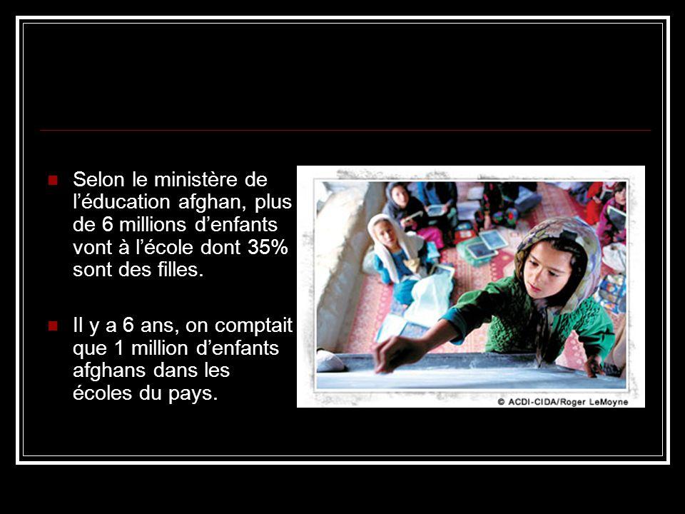 Selon le ministère de léducation afghan, plus de 6 millions denfants vont à lécole dont 35% sont des filles.
