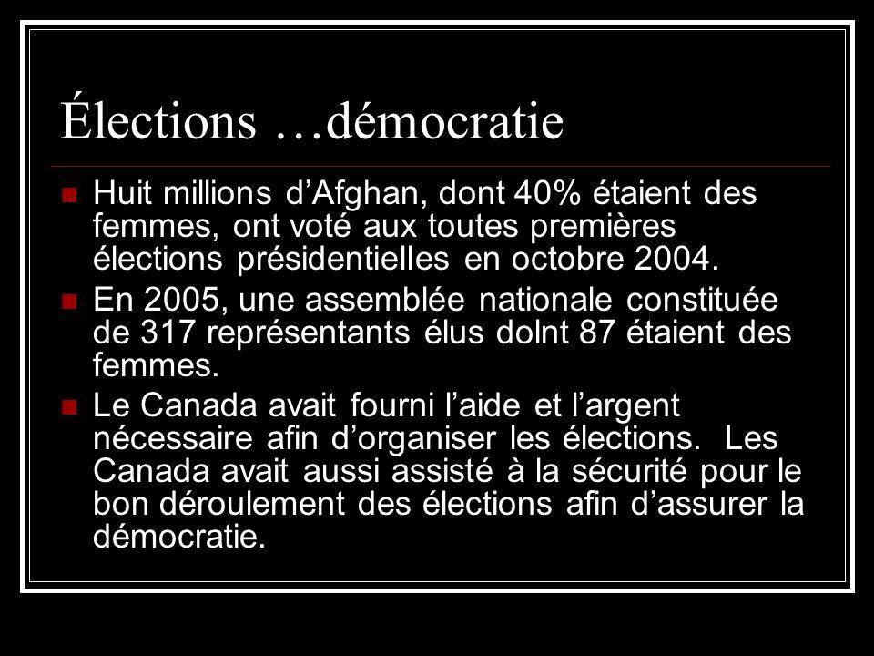 Élections …démocratie Huit millions dAfghan, dont 40% étaient des femmes, ont voté aux toutes premières élections présidentielles en octobre 2004. En