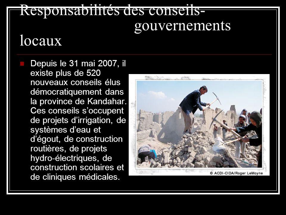Responsabilités des conseils- gouvernements locaux Depuis le 31 mai 2007, il existe plus de 520 nouveaux conseils élus démocratiquement dans la provin