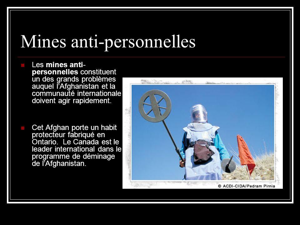 Mines anti-personnelles Les mines anti- personnelles constituent un des grands problèmes auquel lAfghanistan et la communauté internationale doivent agir rapidement.
