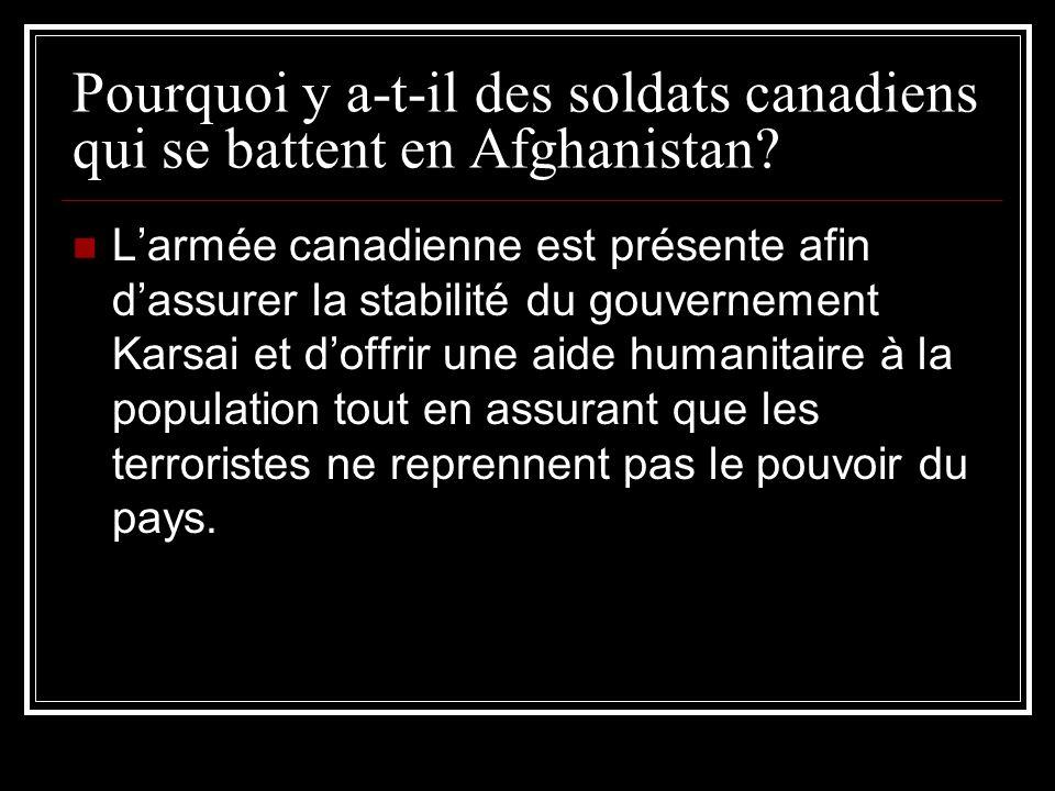 Pourquoi y a-t-il des soldats canadiens qui se battent en Afghanistan? Larmée canadienne est présente afin dassurer la stabilité du gouvernement Karsa