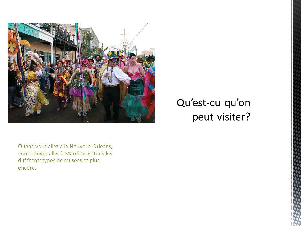Quand vous allez à la Nouvelle-Orléans, vous pouvez aller à Mardi Gras, tous les différents types de musées et plus encore.