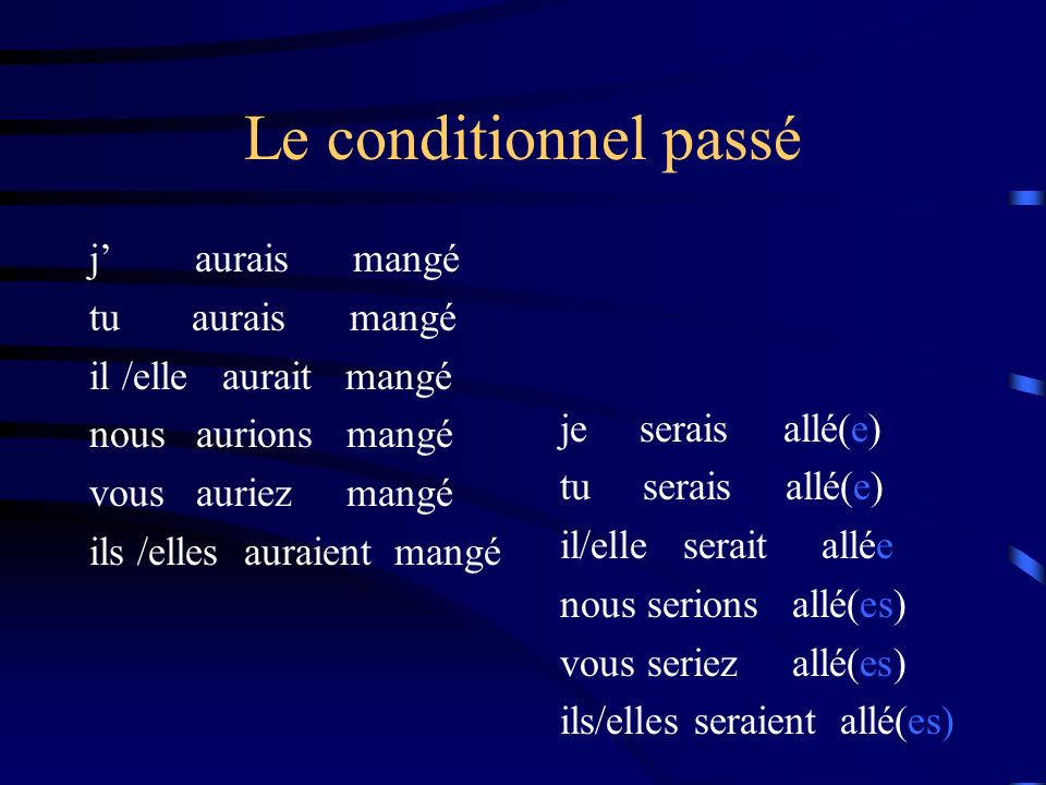 Le conditionnel passé Formation: Le conditionnel passé est un verbe composé. Il est formé comme le passé composé. SujetAuxiliaire Participe Passé Jeav