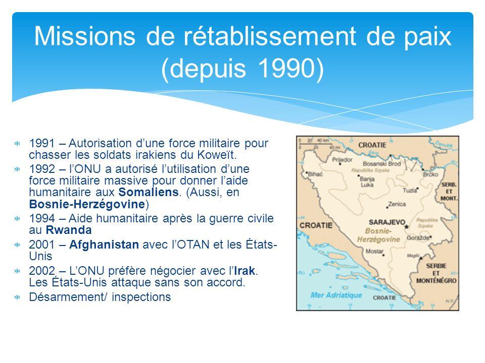 1991 – Autorisation dune force militaire pour chasser les soldats irakiens du Koweït. 1992 – lONU a autorisé lutilisation dune force militaire massive