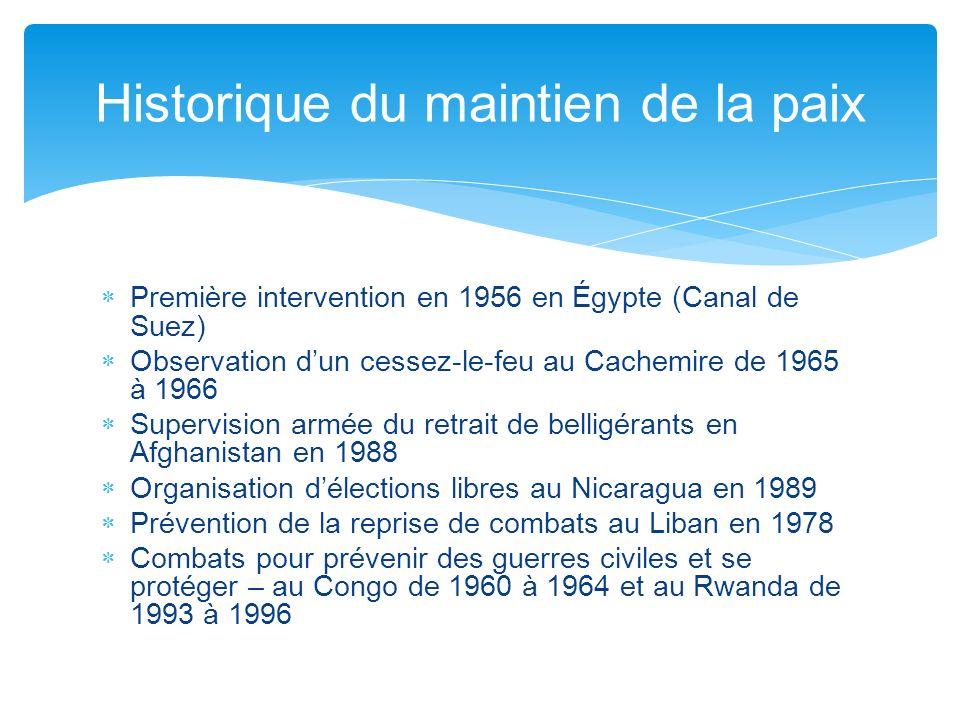 Première intervention en 1956 en Égypte (Canal de Suez) Observation dun cessez-le-feu au Cachemire de 1965 à 1966 Supervision armée du retrait de bell