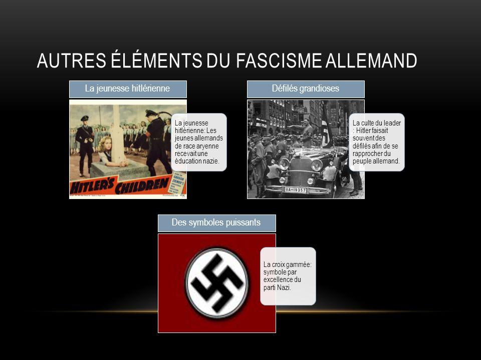 AUTRES ÉLÉMENTS DU FASCISME ALLEMAND La jeunesse hitlérienne: Les jeunes allemands de race aryenne recevait une éducation nazie. La jeunesse hitlérien