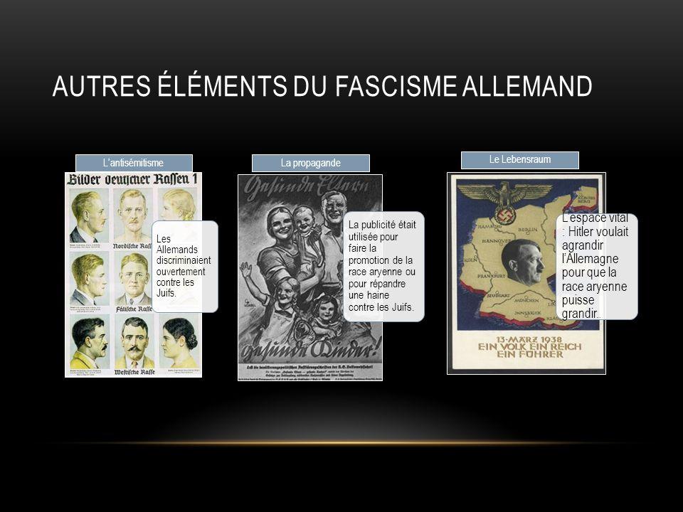 AUTRES ÉLÉMENTS DU FASCISME ALLEMAND Les Allemands discriminaient ouvertement contre les Juifs. Lantisémitisme La publicité était utilisée pour faire