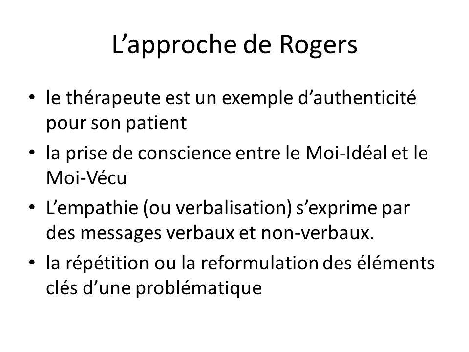 Lapproche de Rogers le thérapeute est un exemple dauthenticité pour son patient la prise de conscience entre le Moi-Idéal et le Moi-Vécu Lempathie (ou