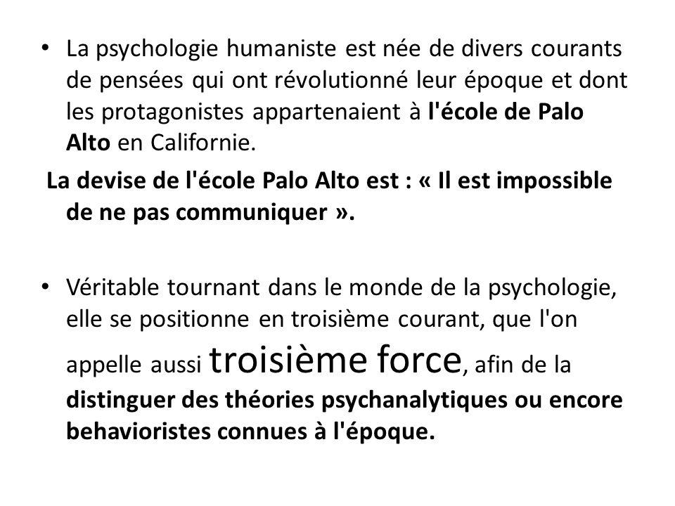 La psychologie humaniste est née de divers courants de pensées qui ont révolutionné leur époque et dont les protagonistes appartenaient à l'école de P