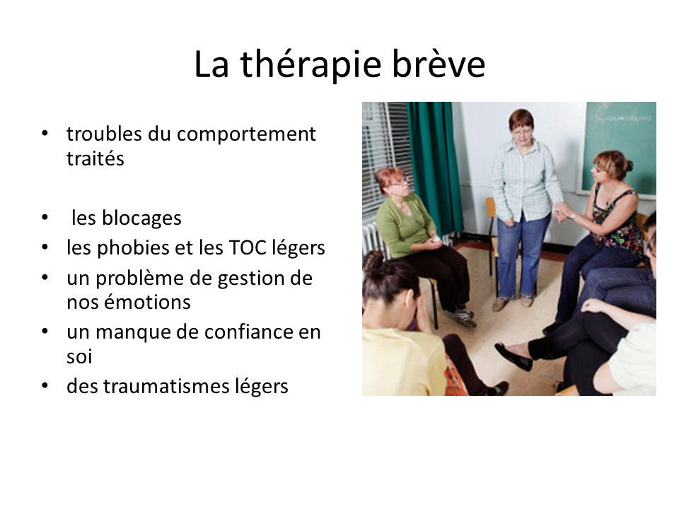 La thérapie brève troubles du comportement traités les blocages les phobies et les TOC légers un problème de gestion de nos émotions un manque de conf