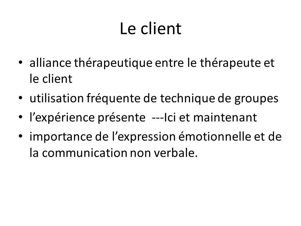 Le client alliance thérapeutique entre le thérapeute et le client utilisation fréquente de technique de groupes lexpérience présente ---Ici et mainten