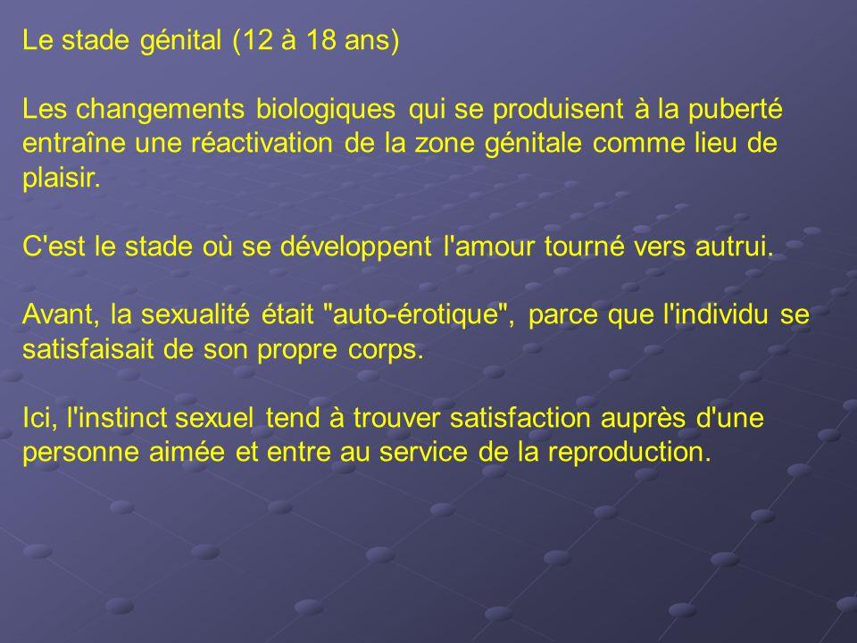 Le stade génital (12 à 18 ans) Les changements biologiques qui se produisent à la puberté entraîne une réactivation de la zone génitale comme lieu de