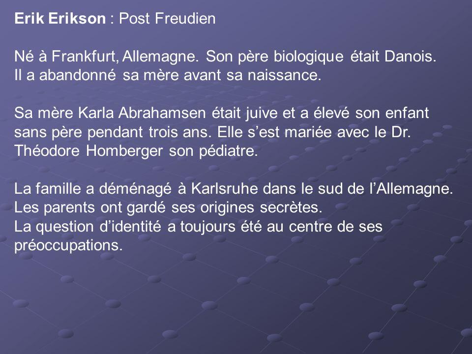 Erik Erikson : Post Freudien Né à Frankfurt, Allemagne. Son père biologique était Danois. Il a abandonné sa mère avant sa naissance. Sa mère Karla Abr