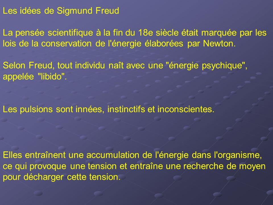 Les idées de Sigmund Freud La pensée scientifique à la fin du 18e siècle était marquée par les lois de la conservation de l'énergie élaborées par Newt