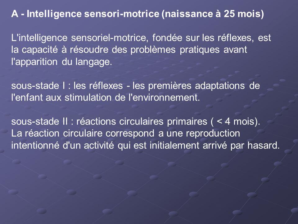 A - Intelligence sensori-motrice (naissance à 25 mois) L'intelligence sensoriel-motrice, fondée sur les réflexes, est la capacité à résoudre des probl