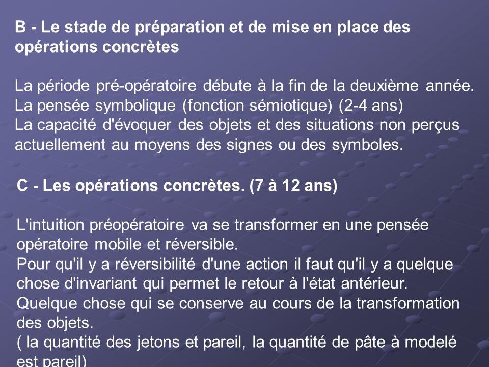 B - Le stade de préparation et de mise en place des opérations concrètes La période pré-opératoire débute à la fin de la deuxième année. La pensée sym