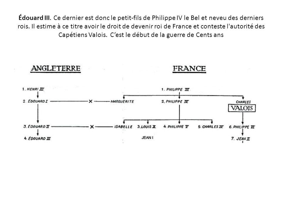 Édouard III.Ce dernier est donc le petit-fils de Philippe IV le Bel et neveu des derniers rois.