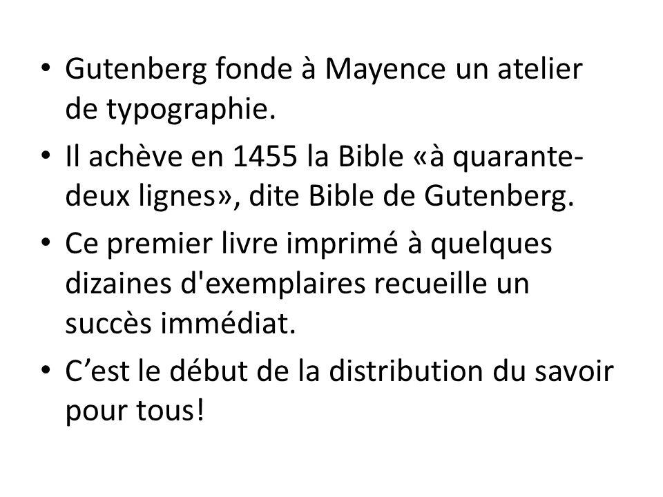 Gutenberg fonde à Mayence un atelier de typographie.