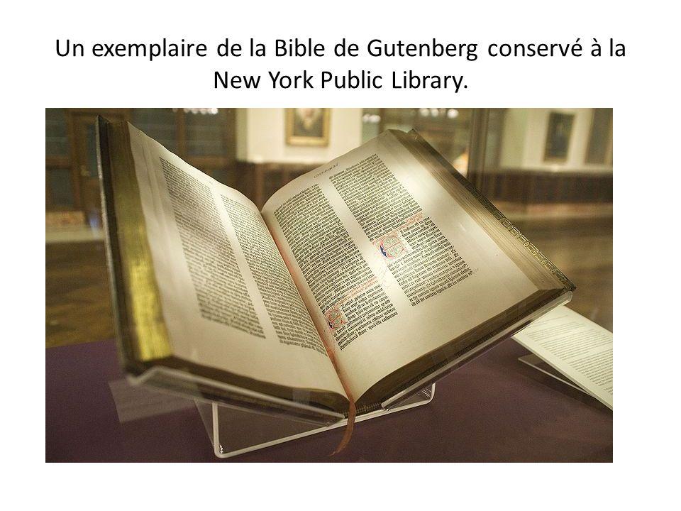 Un exemplaire de la Bible de Gutenberg conservé à la New York Public Library.