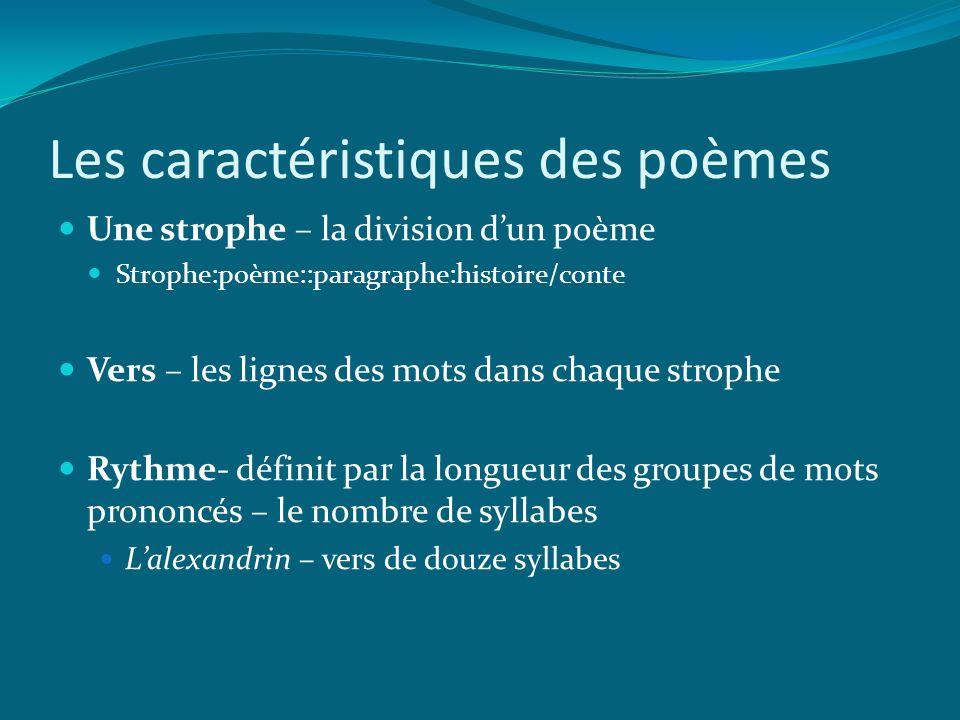 Les caractéristiques des poèmes Une strophe – la division dun poème Strophe:poème::paragraphe:histoire/conte Vers – les lignes des mots dans chaque st