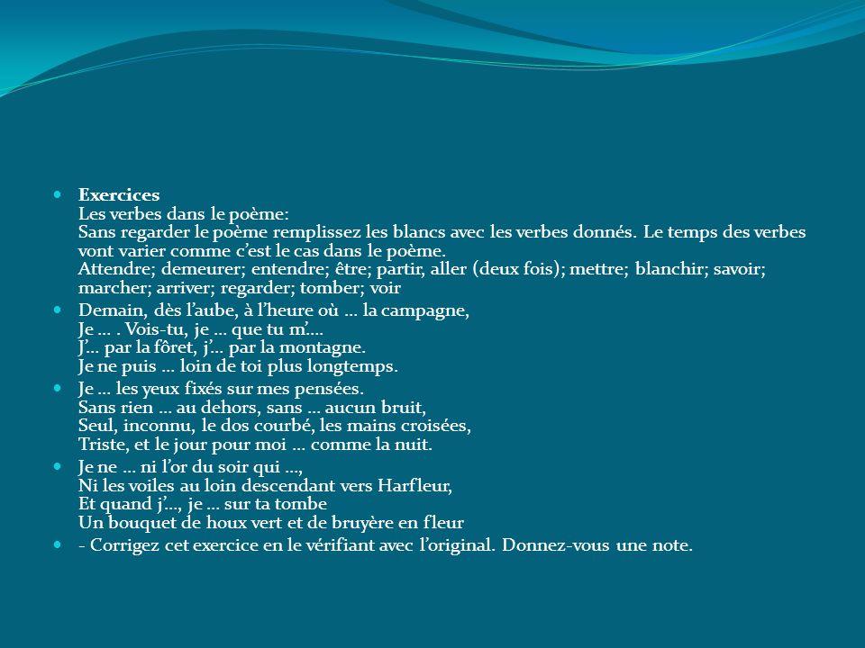 Exercices Les verbes dans le poème: Sans regarder le poème remplissez les blancs avec les verbes donnés. Le temps des verbes vont varier comme cest le