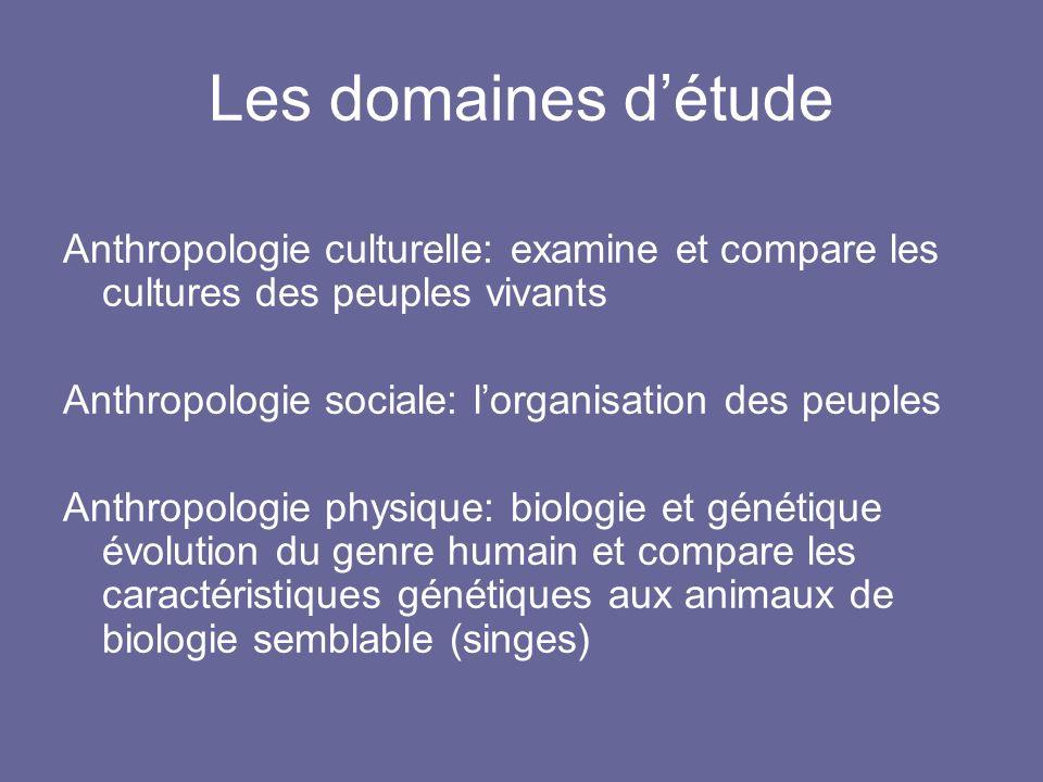 Les domaines détude Anthropologie culturelle: examine et compare les cultures des peuples vivants Anthropologie sociale: lorganisation des peuples Ant