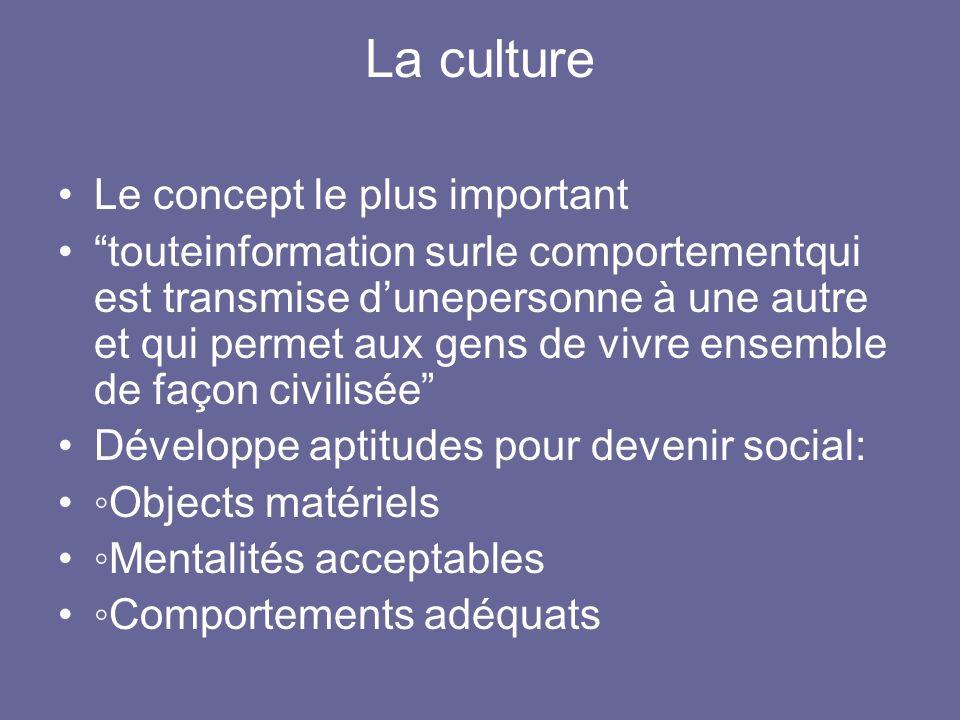 La culture Le concept le plus important touteinformation surle comportementqui est transmise dunepersonne à une autre et qui permet aux gens de vivre
