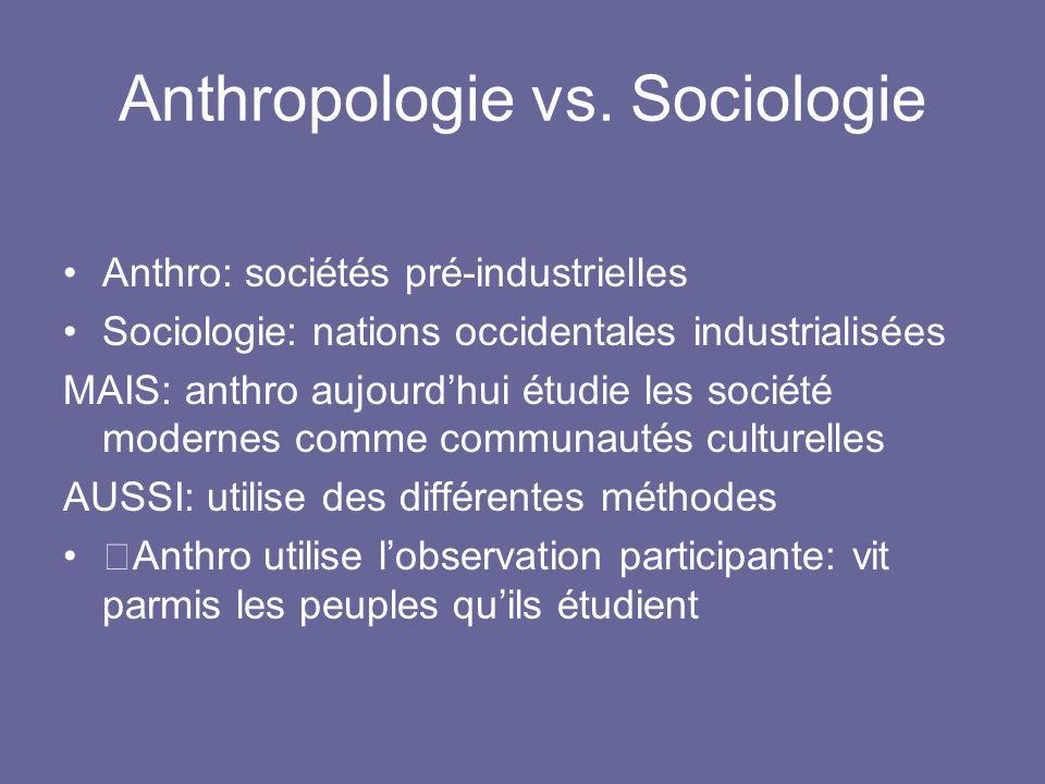 Anthropologie vs. Sociologie Anthro: sociétés pré-industrielles Sociologie: nations occidentales industrialisées MAIS: anthro aujourdhui étudie les so