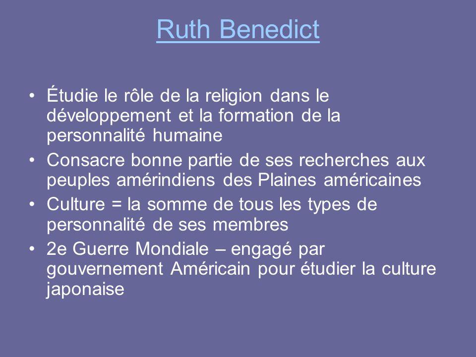 Ruth Benedict Étudie le rôle de la religion dans le développement et la formation de la personnalité humaine Consacre bonne partie de ses recherches a